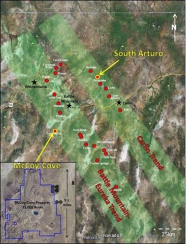 Figure 3: McCoy-Cove Property located 56 km south of Battle Mountain, NV off Highway 305 (CNW Group/Premier Gold Mines Limited)