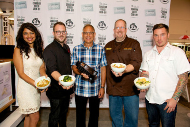 This year's four fierce competitors at the Grate Canadian Cheese Cook-Off included Bal Arneson from Vancouver; chef Andrew Farrell from Halifax; Kevin Durkee from Toronto; and chef David Bohati from Calgary with Wally Smith, president of Dairy Farmers of Canada [centre] (CNW Group/Dairy Farmers of Canada (DFC))