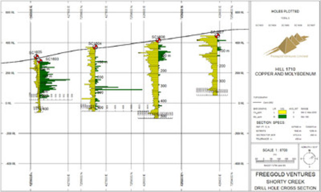 Shorty Creek - Drill Hole Cross Section - Hill 1710 - Copper and Molybdenum (CNW Group/Freegold Ventures Limited)