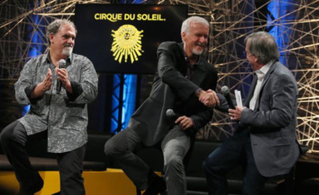 Daniel Lamarre, président et chef de la direction du Cirque du Soleil ainsi que Jon Landau et James Cameron, de Lightstorm Enterntainment, ont annoncé un partenariat en vue de la création d'un spectacle de tournée basé sur le célèbre film AVATAR. (Groupe CNW/Cirque du Soleil)