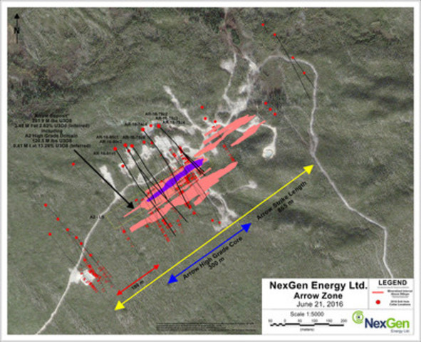 Figure 2: Arrow Deposit Drill Hole Locations (CNW Group/NexGen Energy Ltd.)