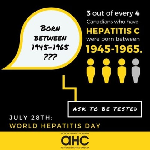To mark World Hepatitis Day, Action Hepatitis Canada urges those born between 1945-1965 to ask to be tested for hepatitis C next time they visit their doctor. (CNW Group/Action Hepatitis Canada)