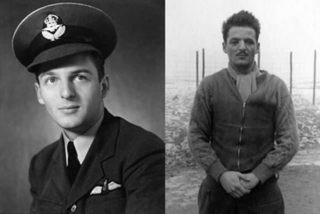 "On the left, John ""Scruffy"" Weir in June 1940, a newly minted RCAF pilot. And at right, John in Stalag Luft I, eighteen months later, having been badly burned when his Spitfire was shot down over France. (CNW Group/Crisp Pennyfeather Mordant Crisp and Minte) (CNW Group/Testaments of Honour)"