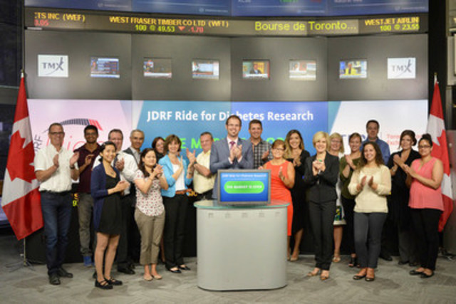 Participants from JDRF Ride for Diabetes Research joined Eleanor Fritz, Director, Compliance & Disclosure, TMX Group to open the market to raise awareness of the 27th annual Toronto Ride for Diabetes Research. The JDRF Ride is a stationary bike-a-thon which takes place on Friday, October 2 at the Metro Toronto Convention Centre. Approximately 18,500 riders in 21 locations across Canada will participate in this year's JDRF Ride for Diabetes Research to raise funds to support better treatment, research and prevention of type 1 diabetes (T1D). In Canada, more than 300,000 children, adolescents and adults are affected by T1D. For more information please visit www.jdrf.ca. (CNW Group/TMX Group Limited)