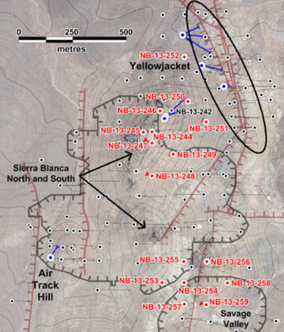 Figure 1: Location of drill hole discussed in this news release. Red collars and traces indicate holes reported in this news release. Blue indicates holes for which assays are pending. Black indicates previously released results.  Significant mineralized faults are shown in dark red. Grey hachured lines show outlines of present proposed pit designs. Topographic contour interval is 2 metres. (CNW Group/Corvus Gold Inc.)