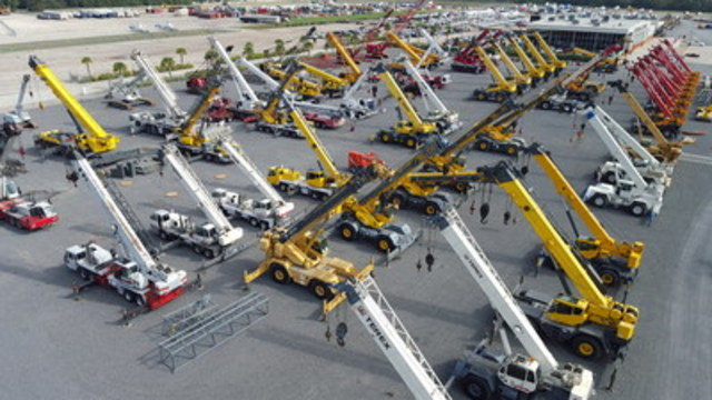Ritchie Bros., the world's largest industrial auctioneer, sold 4,200+ equipment items (including cranes pictured here) and trucks for US$50+ million at this week's unreserved public auction in Houston, TX. (CNW Group/Ritchie Bros. Auctioneers)