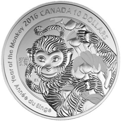 Année du singe (Monnaie royale canadienne) –- cette pièce en argent fin d'une demi-once montre la personnalité charismatique du singe. (Groupe CNW/Banque Canadienne Impériale de Commerce)