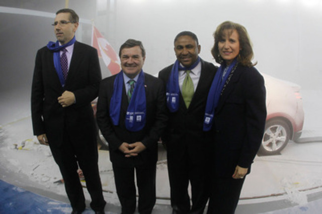 (left to right): John Milloy, Ontario Minister of Training, Colleges and Universities; Jim Flaherty, Federal Minister of Finance; Kevin Williams, President and Managing Director, GM Canada; and Sandra Pupatello, Ontario Minister of Economic Development and Trade; gather in the first climatic wind tunnel of its kind in the world to mark the official opening of the Automotive Centre of Excellence at UOIT. (CNW Group/University of Ontario Institute of Technology)