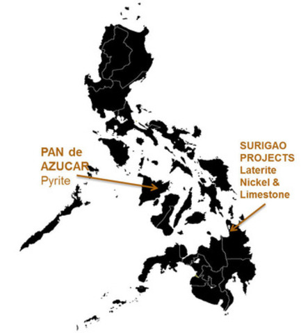 Map 1: Philippines: Agata (Island of Mindanao) and Pan de Azucar Mining (Island of Panay) Project Locations (CNW Group/TVI Pacific Inc.)