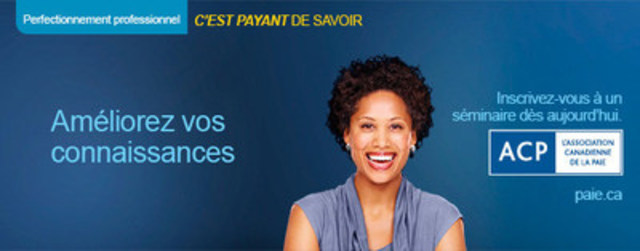 L'Association canadienne de la paie offre également plus d'une vingtaine de séminaires de perfectionnement professionnel différents sur la paie au Canada, lesquels s'adressent aux professionnels membres et non membres des secteurs de la paie, de la comptabilité, de la finance et des ressources humaines qui ont à cœur d'avoir des connaissances à jour en conformité de la paie. Notre séminaire sur cessations d'emploi est offert plusieurs fois par année à travers le Canada. (Groupe CNW/Association canadienne de la paie)