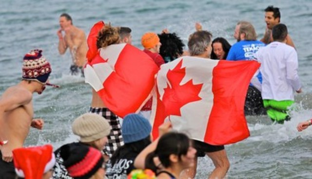 The Courage Polar Bear Dip for World Vision will celebrate Canada's 150th birthday, featuring waves of dippers wearing red & white and classic Canadian costumes. (CNW Group/World Vision Canada)