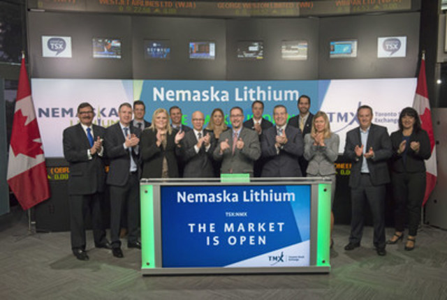 Guy Bourassa, President and CEO, Nemaska Lithium Inc. (NMX), joined Orlee Wertheim, Head Business Development, Global Mining, Toronto Stock Exchange and TSX Venture Exchange to open the market. Located in Québec, Québec, Nemaska Lithium is a lithium hydroxide and lithium carbonate supplier to the lithium battery market that is used by electric vehicles, cell phones, tablets and other consumer products. The Corporation is developing in Québec one of the richest spodumene lithium hard rock deposits in the world. Nemaska Lithium Inc. graduated from TSX Venture Exchange, and commenced trading on Toronto Stock Exchange on July 8, 2016.\ (CNW Group/TMX Group Limited)