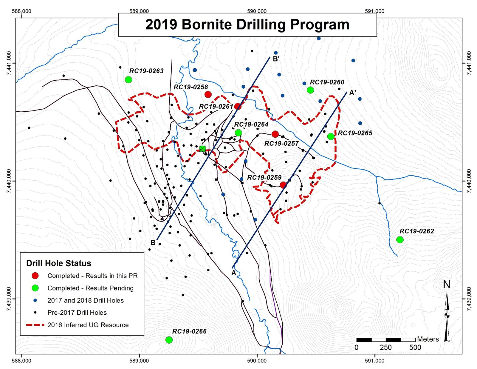 Figure 1- Map Showing Location of 2019 Drilling Program at Bornite