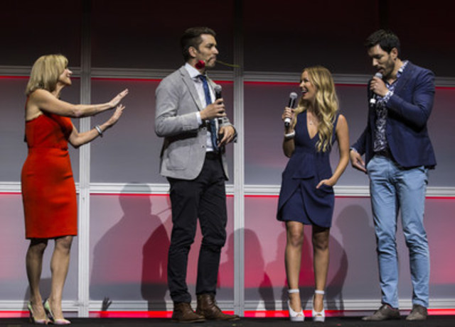 W Network's newly announced Bachelorette Canada star Jasmine Lorimer and Barb Williams, Corus' Executive Vice President and Chief Operating Officer, in a mini rose ceremony with the Property Brothers Drew and Jonathon Scott at the 2016 Corus Upfront on June 9, 2016. (CNW Group/Corus Entertainment Inc.)