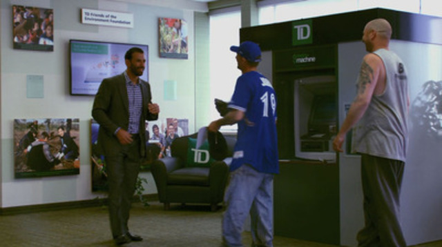 Video: An Automated Thanking Machine(TM) delivers to Mike Jobin a special thank-you experience from his local TD branch in Pickering, ON - a visit from José Bautista of the Toronto Blue Jays and an opportunity to throw out the first pitch at a game.