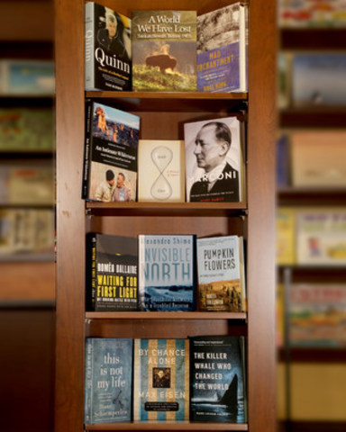 12 books on the RBC Taylor Prize Longlist on the shelves of Ben McNally's bookstore in Toronto! (CNW Group/RBC Taylor Prize)