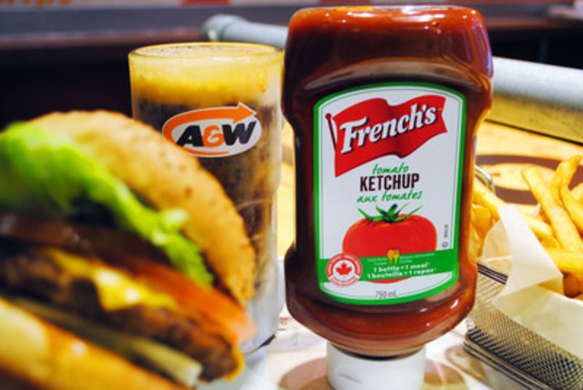 A&W will be the first national restaurant to serve French's Tomato Ketchup and Classic Yellow Mustard in all of its restaurants across Canada. A&W's Ketchup will be made with locally-sourced tomatoes from Leamington and will be produced and packaged in Ontario. (CNW Group/A&W Food Services of Canada Inc.)