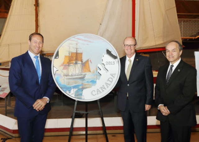 From left: The Honourable Peter MacKay, Minister of Justice and Attorney General of Canada, Kirk MacRae, Member of the Royal Canadian Mint Board of Directors, and Robert Moreau, Director Collections, Curatorial and Conservation, Parks Canada unveil a new silver collector coin at the Maritime Museum of the Atlantic in Halifax honouring the Franklin Expedition. (CNW Group/Royal Canadian Mint)