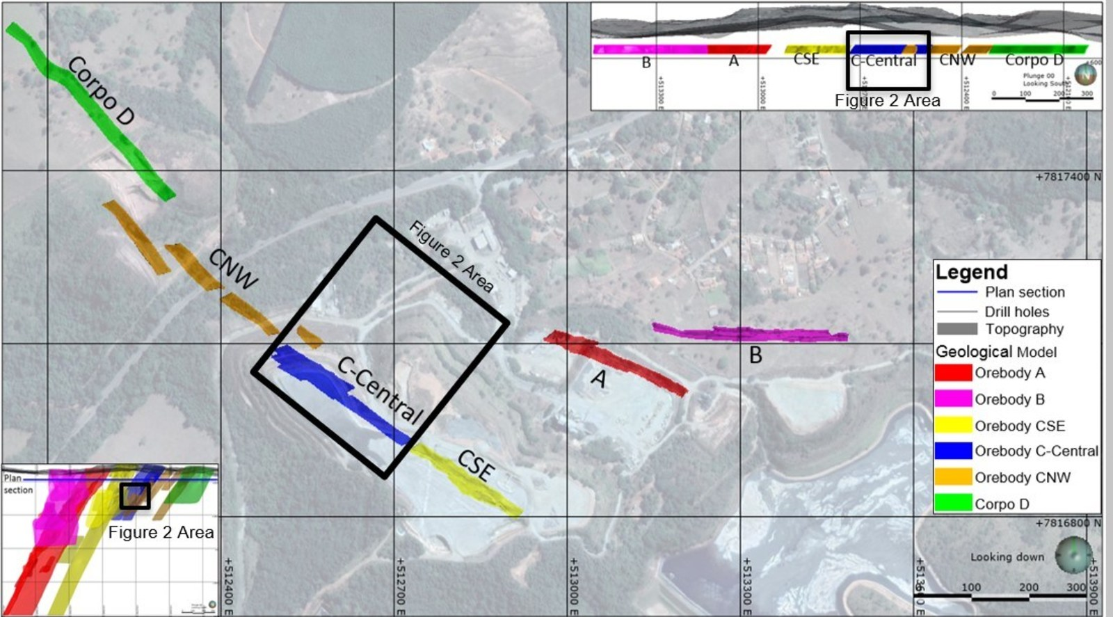 Figure 1. Turmalina Gold Mine – Plan View Projection of Orebodies A, B, C-SE, C-Central, C-NW and D.