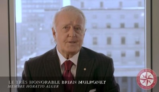 Le très honorable Brian Mulroney membre Horatio Alger (Groupe CNW/Association Horatio Alger du Canada)