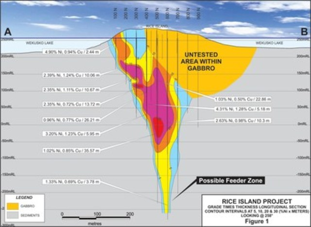 Figure 1: RICE ISLAND PROJECT - GRADE TIMES THICKNESS LONGITUDINAL SECTION (CNW Group/Wolfden Resources Corporation)