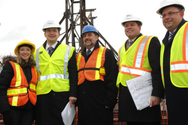 Pictured from right: Susie Grynol, Vice President, Policy and Public Affairs with the Association of Consulting Engineering Companies; Mr. Pierre Poilievre, Member of Parliament for Nepean-Carleton; The Hon. Denis Lebel, Minister of Transport, Infrastructure and Communities; Mr. Steve Desroches, Deputy Mayor of Ottawa and Councillor for Gloucester-South Nepean; and Berry Vrbanovic, President of the Federation of Canadian Municipalities. (CNW Group/Association of Consulting Engineering Companies)