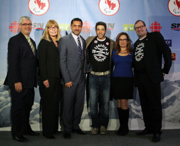 Jean St-Onge (Radio-Canada), Karen O'Neill (Canadian Paralympic Committe), Hon. Bal Gosal, Minister of State (Sport), Paralympian Brian McKeever, Brenda Irving (CBC), Team Canada Chef de Mission for Sochi 2014 Ozzie Sawicki celebrate announcement of Paralympic Media Consortium creating unprecedented broadcast coverage of Sochi 2014 Paralympic Winter Games. (CNW Group/Canadian Paralympic Committee (CPC))
