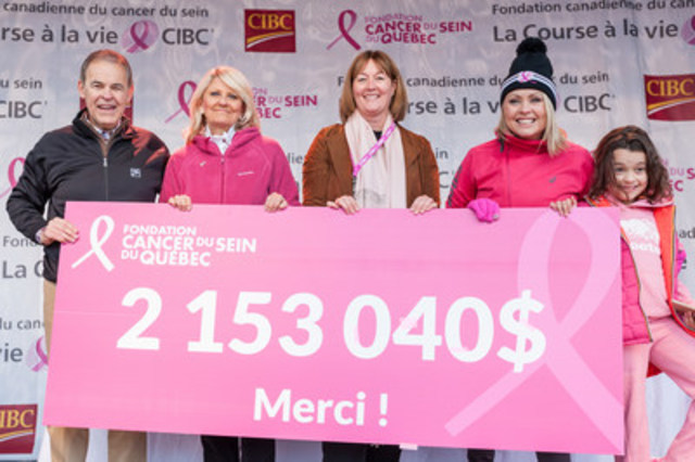 From left to right: Sylvain Vinet, Region Head - Eastern Canada, CIBC Bank; Pam McLernon, Founder, QBCF; Nathalie Tremblay, CEO, QBCF; Mitsou Gélinas, QBCF Volunteer Spokesperson, and her daughter. (CNW Group/Quebec Breast Cancer Foundation)