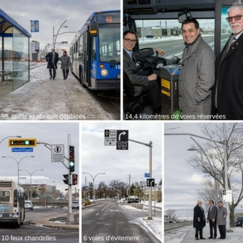 David De Cotis, President of the STL's Board of Directors and Vice President of the City of Laval Executive Committee; Gilbert Dumas, Vice President of the STL's Board of Directors; Municipal Councillor Marc-Aurèle-Fortin and Guy Picard, Director General of the STL, apresenting the entire preferential bus measures plan for the bus network. (CNW Group/Société de transport de Laval)