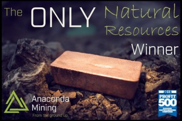 Canadian Business recognizes Anaconda Mining as one of the fastest growing companies in Canada (CNW Group/Anaconda Mining Inc.)