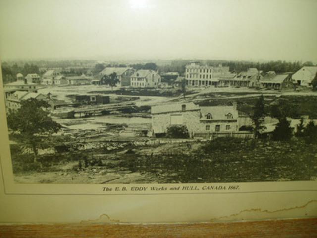 Framed historical photo of former E.B. Eddy site, Hull, Quebec, 1867. (CNW Group/Domtar Corporation)