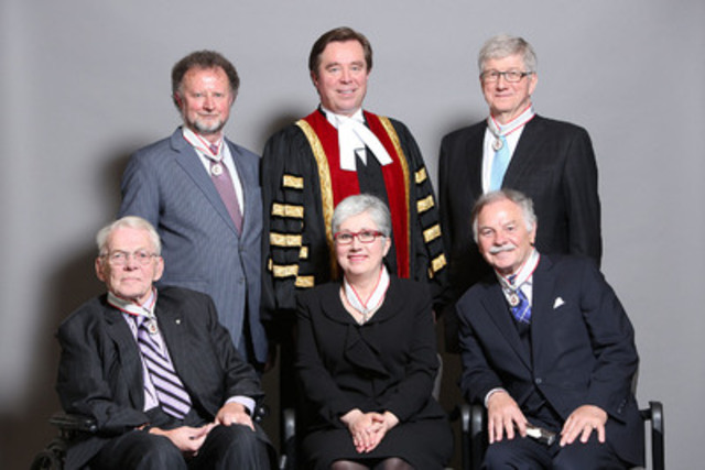 Law Society Treasurer Thomas G. Conway (back, middle) congratulates five lawyers who received the 2014 Law Society Medal on May 21. Front, left to right: Clare E. Lewis, OOnt., QC, Sandra R. Stephenson, and William M. Trudell. Back: Frank E.P. Bowman, Treasurer Conway and W. A. Derry Millar. (CNW Group/The Law Society of Upper Canada)