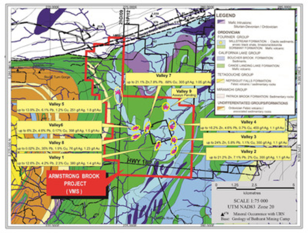 Armstrong Brook Project map (CNW Group/Wolfden Resources Corporation)