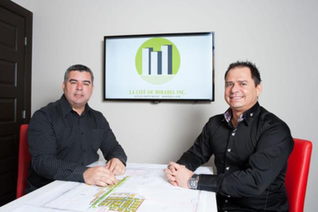 Les promoteurs Daniel Proulx et Ray Junior Courtemanche, sont fiers d'annoncer aujourd'hui la construction de La Cité de Mirabel, un important projet immobilier résidentiel d'un demi-milliard de dollars, situé sur le site du futur complexe « Premium Outlets » à Mirabel, et qui verra le jour à compter de l'été 2013 (Groupe CNW/La Cité de Mirabel inc)