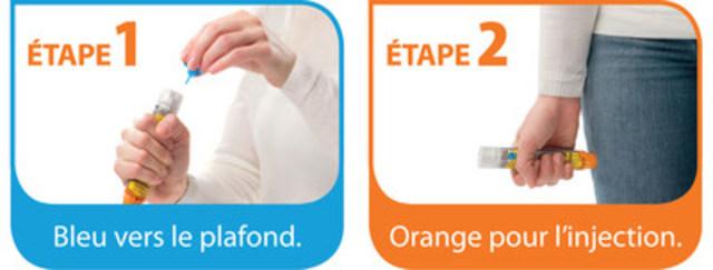 Auto-injecteurs EpiPen(MD) (épinéphrine). Bleu vers le plafond. Orange pour l'injection. (Groupe CNW/Pfizer Canada Inc.)