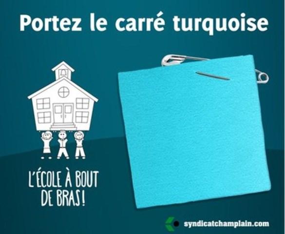 Aux couleurs de la campagne « L''École à bout de bras », ce symbole permettra notamment de démontrer au gouvernement que l''éducation est un enjeu majeur pour la population québécoise. (Groupe CNW/Syndicat de Champlain (CSQ))