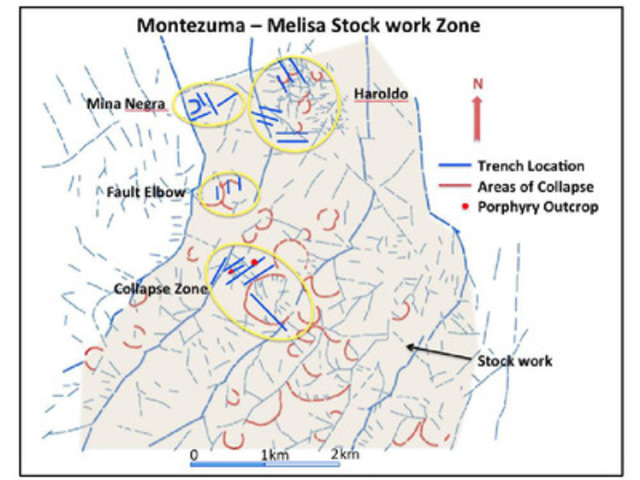 Montezuma - Melisa Stock work Zone (CNW Group/Polar Star Mining Corporation)