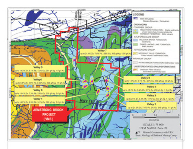 Exhibit 1 - ARMSTRONG BROOK - Property Geology and Massive Sulphide Boulder Clusters (CNW Group/Wolfden Resources Corporation)