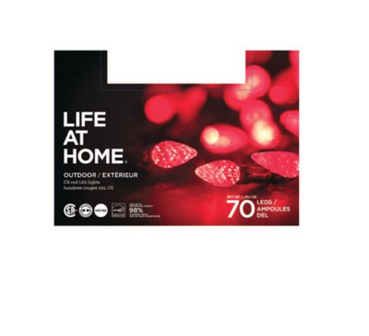 Lumières extérieures DEL Life at Home, emballages de 70 - rouges (Groupe CNW/Les Compagnies Loblaw limitée)