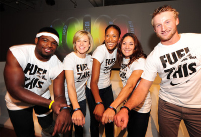 Nike athletes P.K. Subban, Tessa Bonhomme, Phylicia George, Priscilla Lopes-Schliep and Steven Stamkos show off the Nike+ FuelBand today in Toronto. After going head-to-head in a series of activities, Subban came out on top, earning the most Fuel and a $10,000 donation to his charity of choice the P.K. Subban Foundation. The Nike+ FuelBand will be available October 31 at Nike Toronto stores, at Apple stores nationwide and Apple online for a suggested retail price of $149 (CDN). (CNW Group/Nike Canada Ltd.)