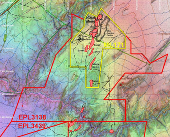 Figure 1: Husab Mining Licence Area shown in yellow. Projection UTM WGS 84 Zone 33 South. (CNW Group/Extract Resources)