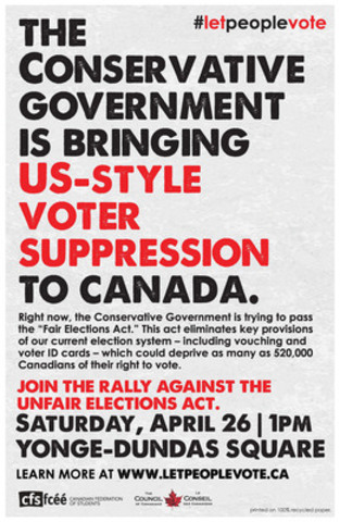 Students, youth and citizens will rally against the Unfair Elections Act at Dundas Square on Saturday, April 26. (CNW Group/Canadian Federation of Students - Ontario)