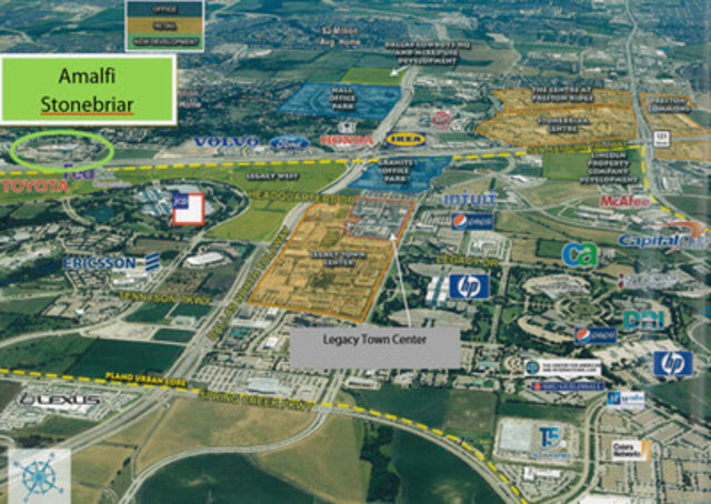 Aerial view of Pure Multi's latest acquisition: the Amalfi Stonebriar and surrounding Fortune 500 head offices (CNW Group/Pure Multi-Family REIT LP)