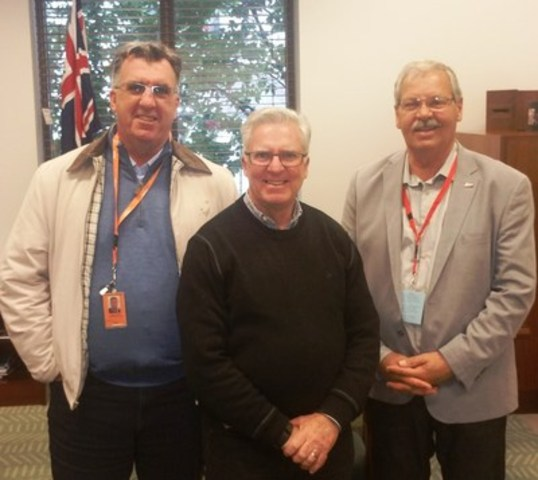 (left to right) HSU Secretary Gerard Hayes, Labor Party House Whip Chris Hayes and OPSEU President Warren (Smokey) Thomas (CNW Group/Ontario Public Service Employees Union (OPSEU))