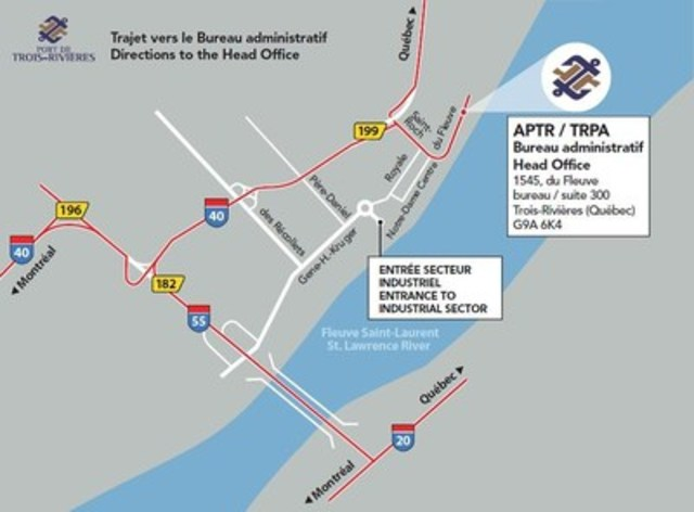 Trajet vers le Bureau administratif - DIrections to the Head Office (Groupe CNW/Cabinet du ministre des ...