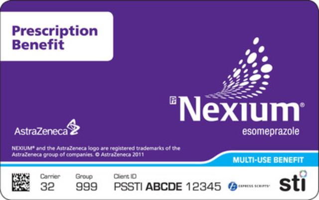 Nexium Prescription Benefit Card www.nexiumsupport.ca. (CNW Group/STI (SAMPLING TECHNOLOGIES INC.))