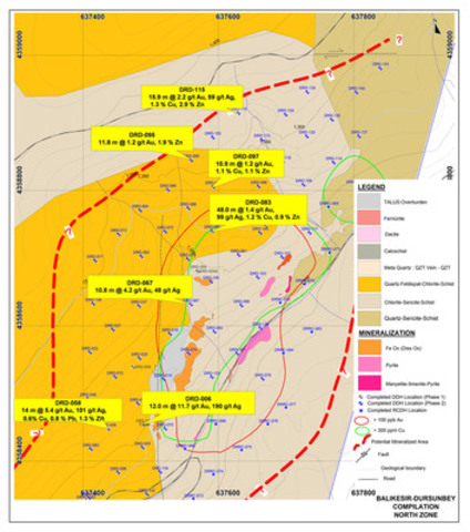 Figure 3: Plan Showing Dursunbey North Zone Significant Drill Assay Results in 2014 (CNW Group/Alacer Gold Corp.)