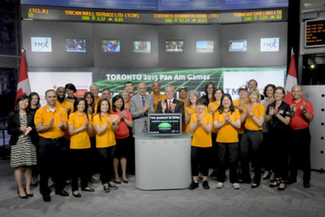Saäd Rafi, Pan Am Games CEO joined Suzanne Peters, Director, Business Communications & Strategic Programs, TMX Group to open the market to celebrate the first day of the Pan Am Games in Toronto. Also joining them were CIBC employees who are volunteering their time at the TORONTO 2015 Pan Am/Parapan Am Games and CIBC executives. CIBC is the Lead Partner of the TORONTO 2015 Pan Am and Parapan Am Games that will take place July 10 -26.The Games will bring more than 10, 000 athletes, coaches, and officials from 41 countries across the Americas and the Caribbean to compete in 51 sports across the Greater Golden Horseshoe area. For more information please visit CIBCcommunity.com. (CNW Group/TMX Group Limited)