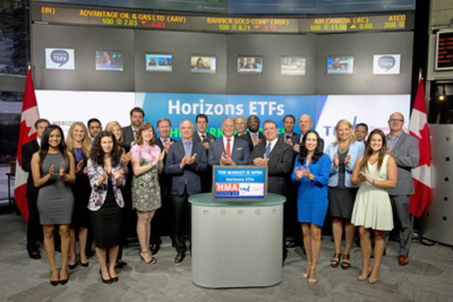 Steven Hawkins, Co-CEO, Horizons ETFs joined Kevin Sampson, Vice President, Business Development & Strategy, TMX Equities Trading to open the market to launch Horizons Managed Multi-Asset Momentum ETF (HMA/HMA.A). Horizons ETFs is a financial services company and a subsidiary of the Mirae Asset Financial Group. As of July 31, 2015, Horizons ETFs had 67 ETFs listed on Toronto Stock Exchange with a market value of $4.6 Billion. Horizons Managed Multi-Asset Momentum ETF (HMA/HMA.A) commenced trading on Toronto Stock Exchange on August 19, 2015. For more information please visit www.horizonsetfs.com (CNW Group/TMX Group Limited)
