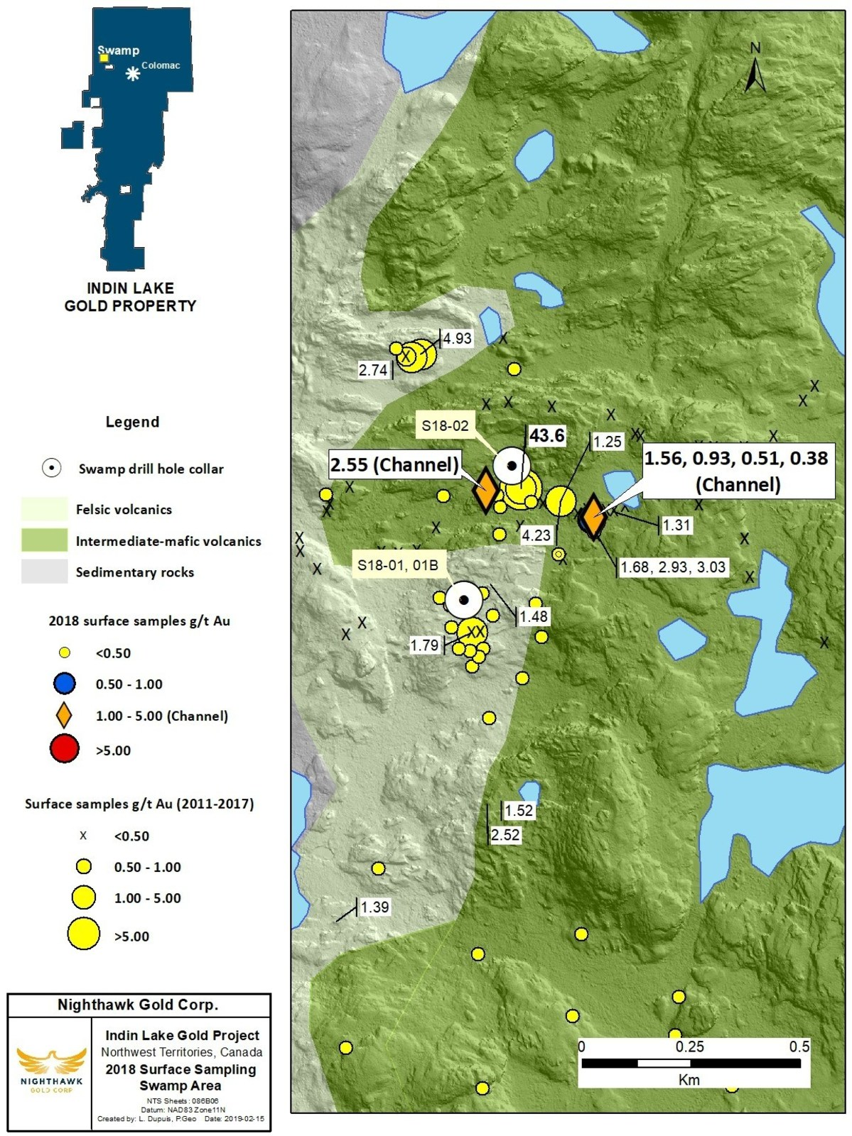 Figure 7. Swamp Location Map and Select Surface Sample Results